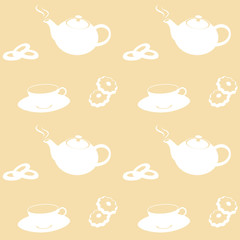 Tea Time Pot, Cup and Cookies Background, Vector Illustration