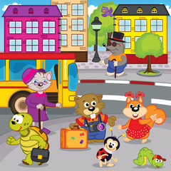 animals in city come by bus - vector illustration, eps