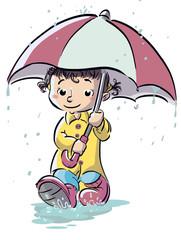 niña bajo la lluvia