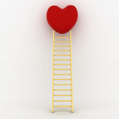 Concept way to your heart. Ladder and heart.