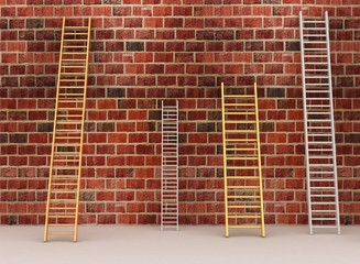 Aged brick wall with stairs. 3d render illustration
