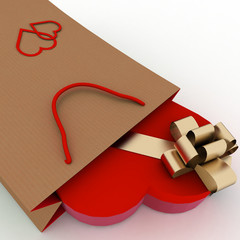 Box as heart form with gold bow in bag for gift.