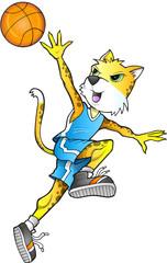 Leopard Cheetah Basketball Player Vector Illustration Art