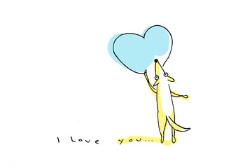 Yellow dog drawing big blue heart on Valentine's Day