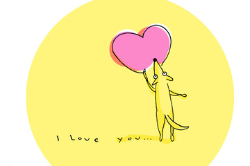 Yellow dog drawing big pink heart on Valentine's Day