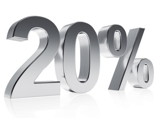 Realistic silver rendering of a symbol for 20 % discount or gain