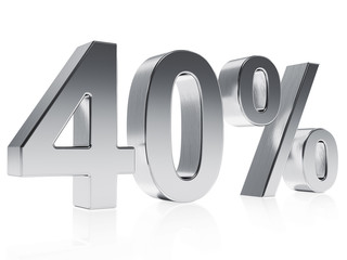Realistic silver rendering of a symbol for 40 % discount or gain