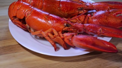 large boiled lobsters on  plate