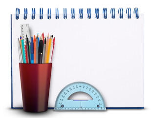 Notebook and pencil holder