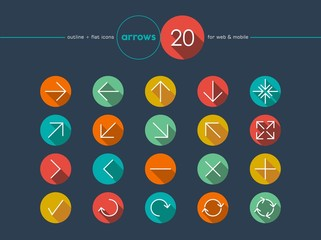 Arrow flat icons line style set