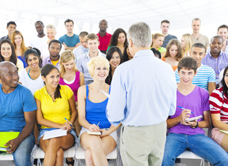 Large Group Students Lecture Room Learning Concept