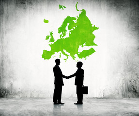 Business men shaking hand in Europe