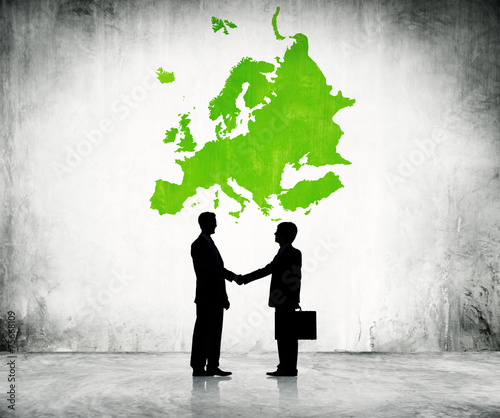 canvas print picture Business men shaking hand in Europe