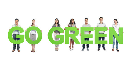 Group People Holding Alphabet Go Green Concept