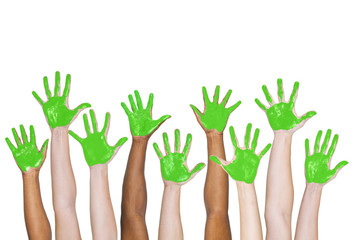 Green Painted Hands Togetherness Unity Concept