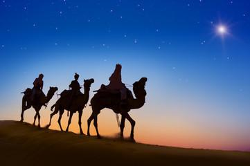 Three Wise Men Desert Dark Sky Concept