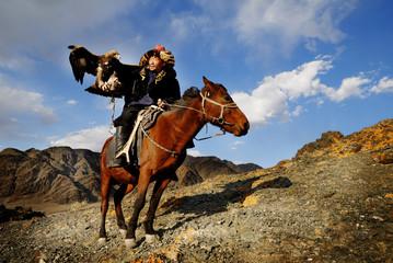 Mongolian Man Trained Eagle Falconry Concept