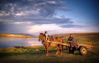 Horse Man Sitting Horse Cart Scenic Nature Concept