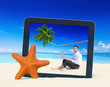 Beach Business Digital Device Leisure Relax Concept
