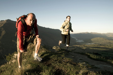 Extreme Athletes Exercising in the Mountains