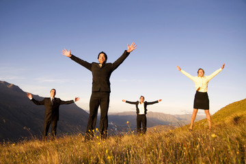 Business People Mountains Fresh Cheerful Unity Concept