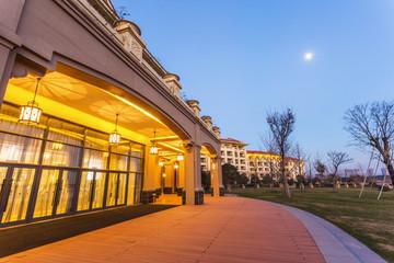 resort building exterior at night