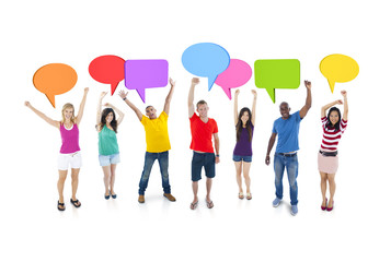 Group Discussion Speech Bubbles Colorful Concept