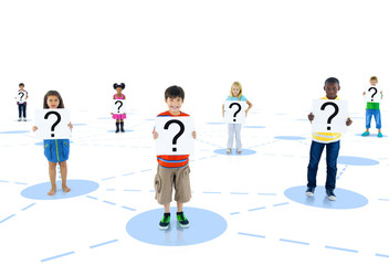 Group Child Holding Board Togetherness Unity Concept