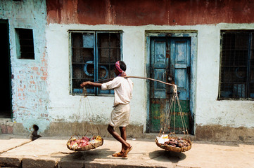 Indian Man Going Market Working Tranquil Concept