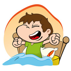 Illustration is a child waking up and getting up Happy bed