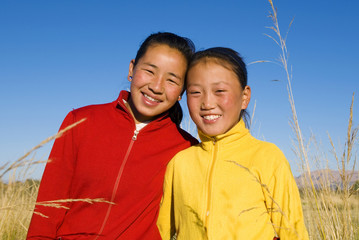 Portrait of Mangolian Two Sisters with Beautiful Smiling