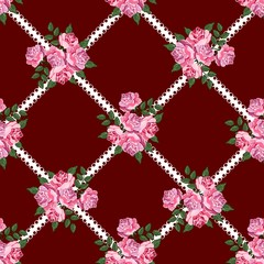 Seamless vintage dark background with roses.