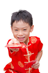 boy with Chinese traditional dress holding  red packet money