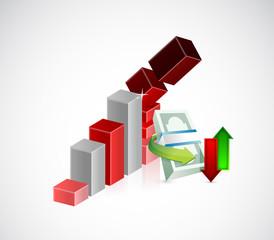 falling monetary concept illustration