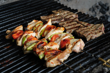 chicken meat skewers with peppers