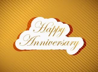 happy anniversary gold sign illustration design
