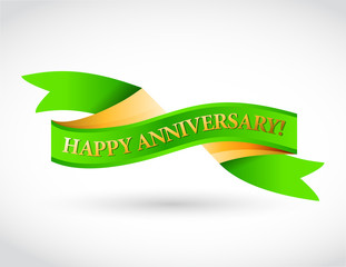 green happy anniversary ribbon