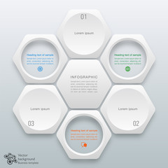 Infographics Vector Background Honeycomb Structure 3-step