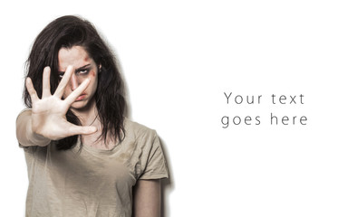 Beaten up girl asking to stop with strong look card