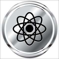 Symbolic molecule, atom symbol icon for chemistry, biology, rese