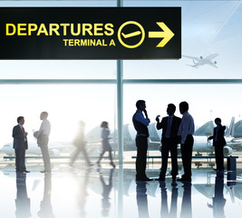 Group Passenger Airport Airplane Terminal Departures Concept