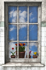 Spring through a window.