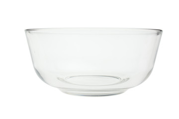 Glass bowl on a white background