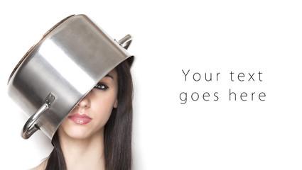 Girl wearing a pot as hat card