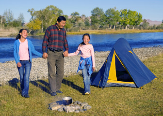Mongolia Family Camping Summer Vacations Concept