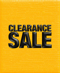 3D Clearance sale text background in yellow black