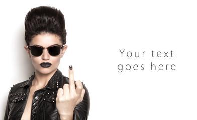 Punk girl making middle finger card