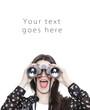 Surprised girl looking through binoculars card