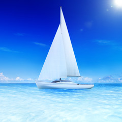 3D Rendered Sailboat on the Sea