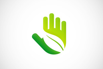 hand leaf ecology logo